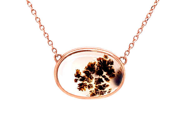 14KT ROSE GOLD MONTANA AGATE NECKLACE