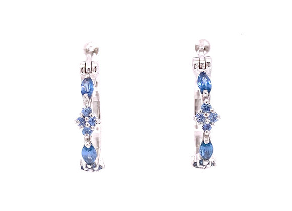 14KT WHITE GOLD YOGO SAPPHIRE EARRINGS
