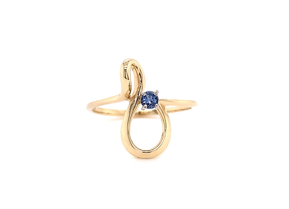 14KT YELLOW GOLD YOGO SAPPHIRE RING