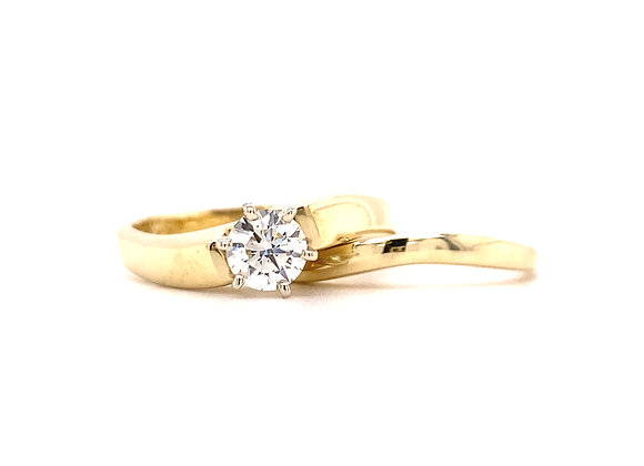 14KT YELLOW GOLD DIAMOND ENGAGEMENT RING AND MATCHING BAND