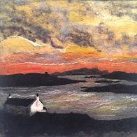 Needle felt picture, wool painting Sunset