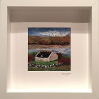 Needle felt picture Tresta Cotage - Made with 100% Merino wool