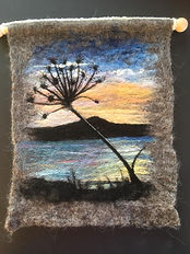 Bressay hogweed sunrise - needle felt using Shetand & Merino wool