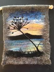 Bressay hogweed sunrise - needle felt using Shetand & Merino wool
