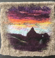Sunset ruin - Wet & Needle felt picture made using Shetland & Merino wool