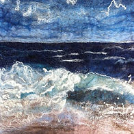 Waves needle felt picture, needle felt using 100% Merino wool