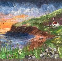 Cottage scene - needle felt using Shetland & Merino wool