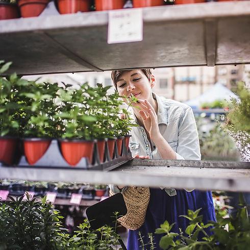Kobieta zakupy na rynku roślin