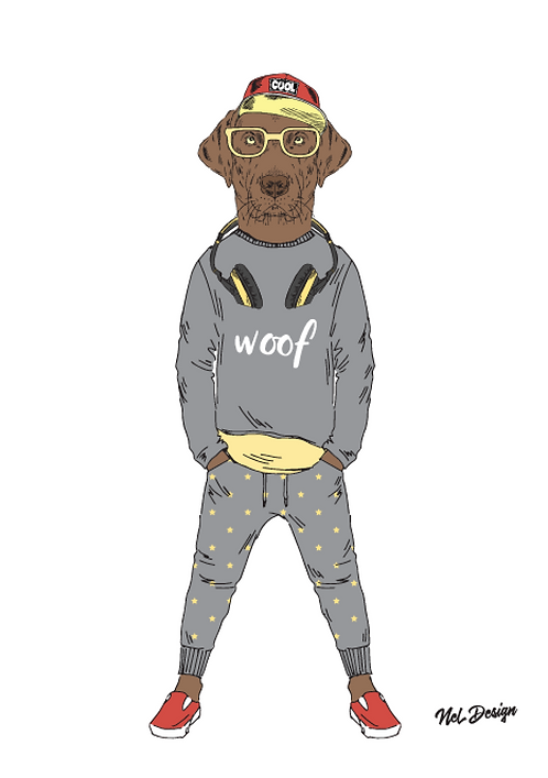 Hipster chocolate labrador animal illustration
