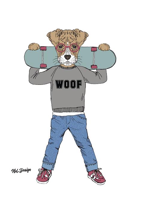 Boxer puppy hipster animal illustration