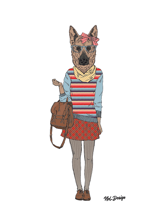 Schoolgirl German Shepherd hipster animal illustration