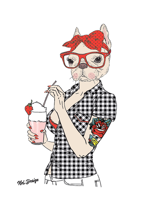Pinup Frenchie hipster animal illustration