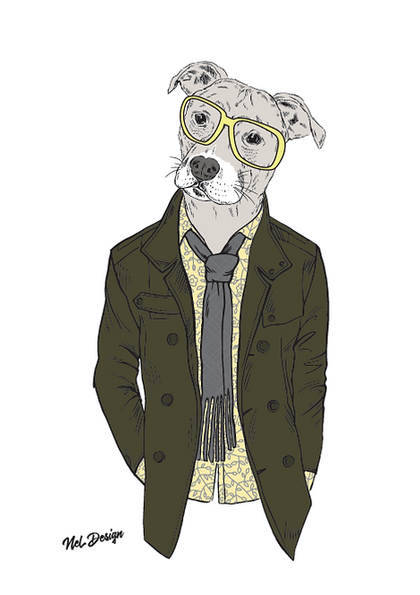 Office Pittbull hipster animal illustration