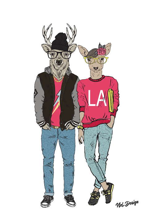 Trendy Deer Couple
