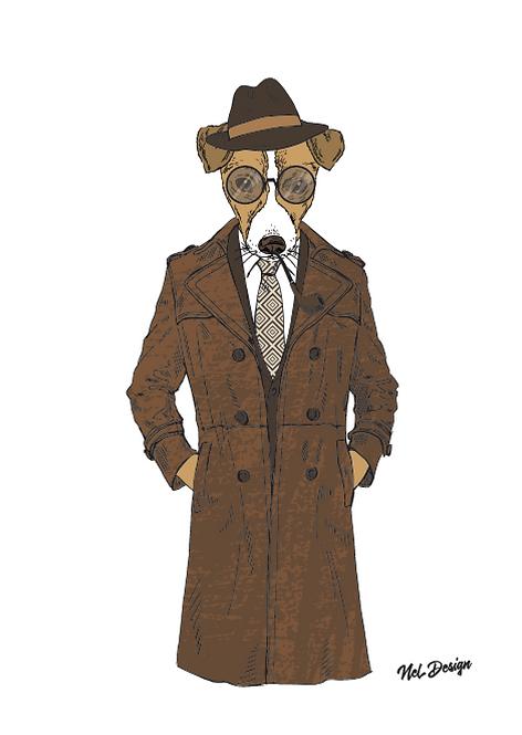 Inspector Foxy hipster animal illustration