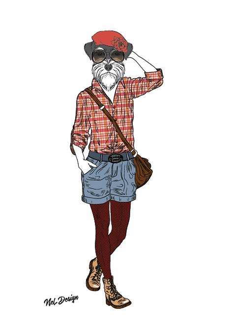 Schnauzer Girl hipster animal illustration