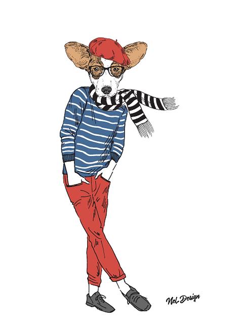 Hipster Corgi fashion animal illustration
