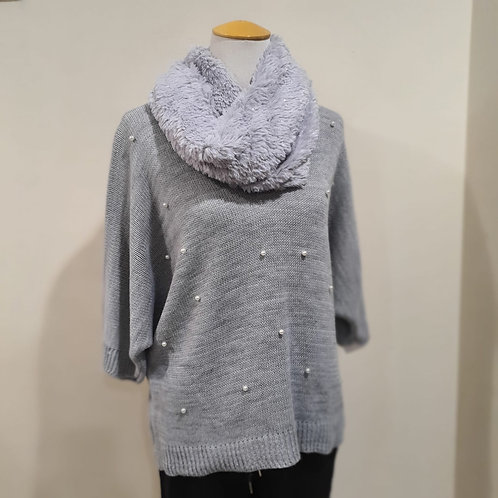 Silver Grey Knitted Pearl Top