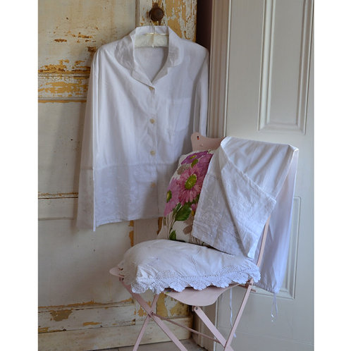 White Embroidered PJs