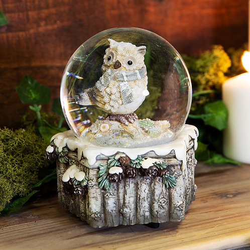 Musical Owl Snow Globe
