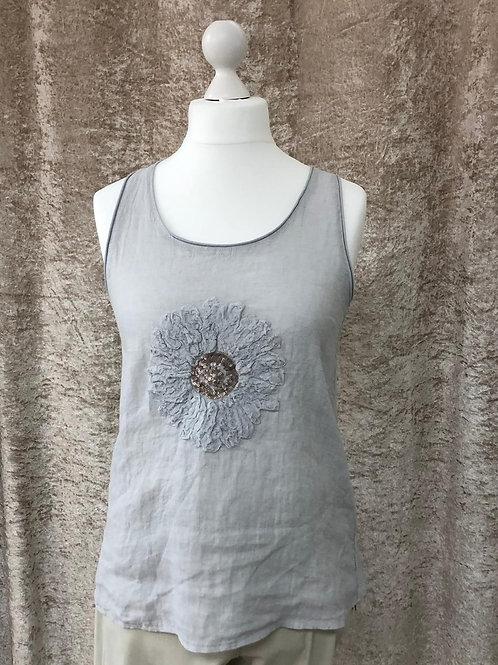 Light Grey Flower Design Sleeveless Linen Top