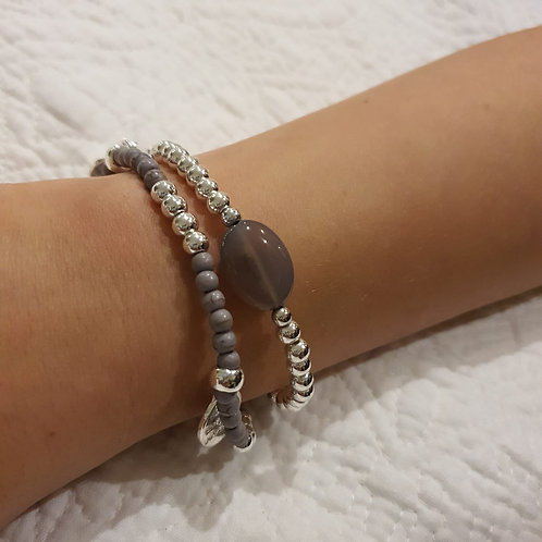 Grey and Silver Bead Bracelet