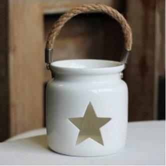 White Star Cut Tealight Holder