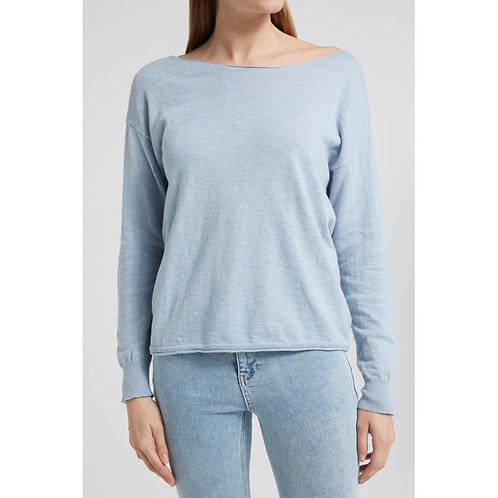 Yaya Light Blue Cotton Blend Boat Neck Sweater