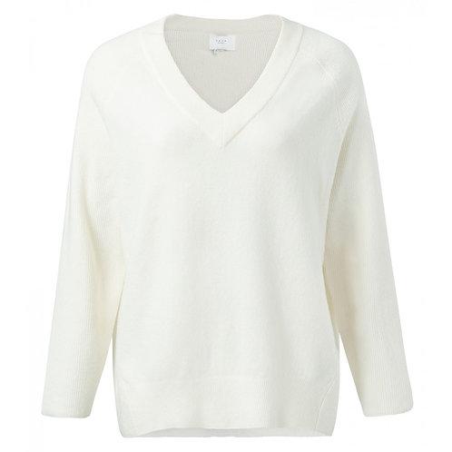 Yaya Cotton Blend V-neck Sweater