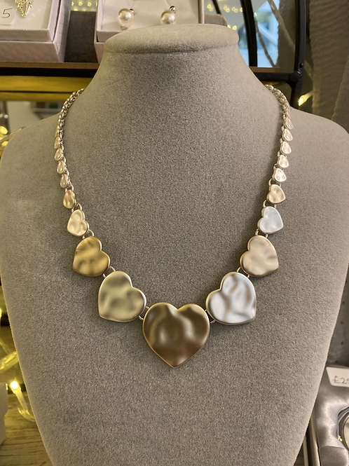 Hammered Silver and Gold Metal Necklace