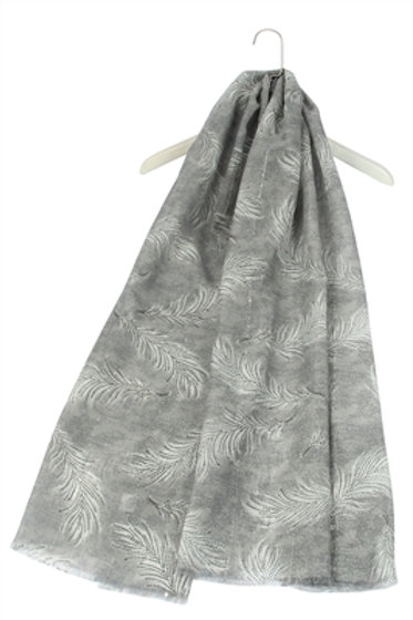 Grey Sequin Feather Scarf