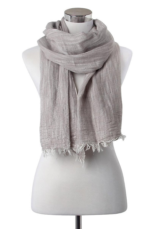 Casual Grey Frayed Linen Scarf