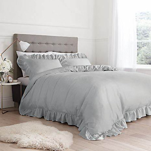 Grey Relaxed Frills Duvet Set