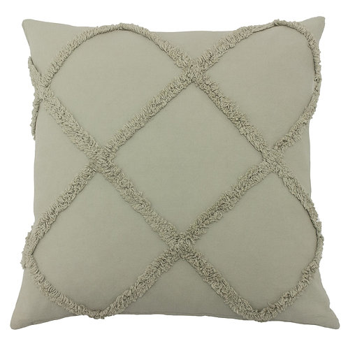 Grey Tufted Cotton Diamond Cushion