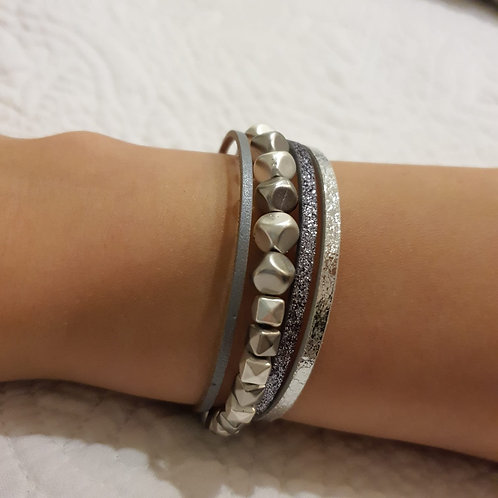 Grey Stone Strap Bracelet