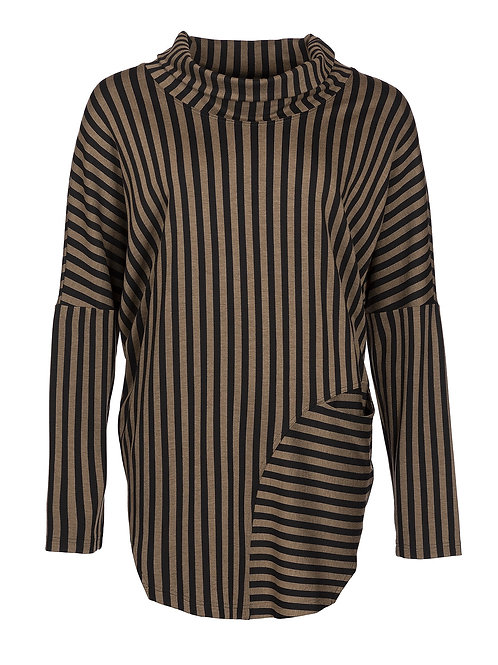 Qneel Gold and Black Stripe Top