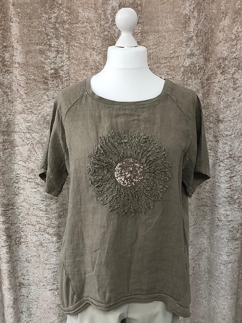 Brown Flower Design Linen Top