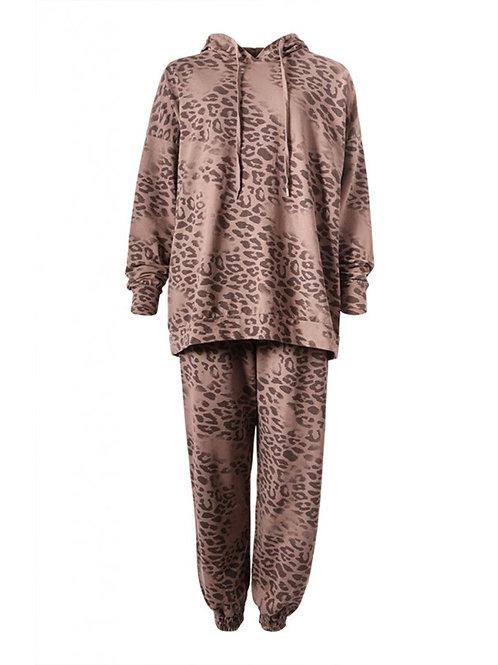 Beige Leopard Print Lounge Suit