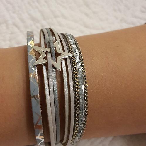 Grey Star Strap Bracelet