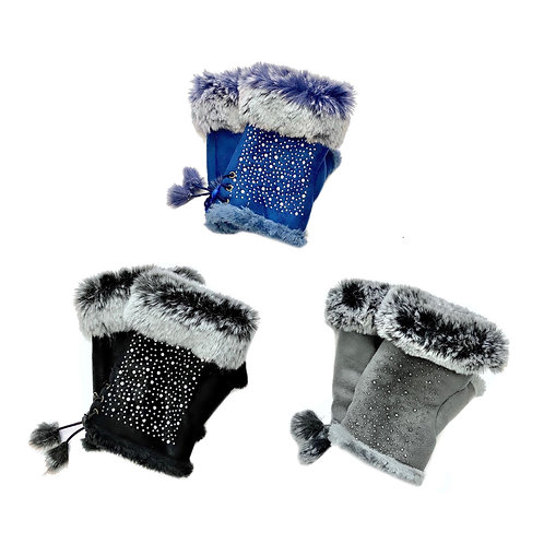 Fingerless Gloves with Crystals