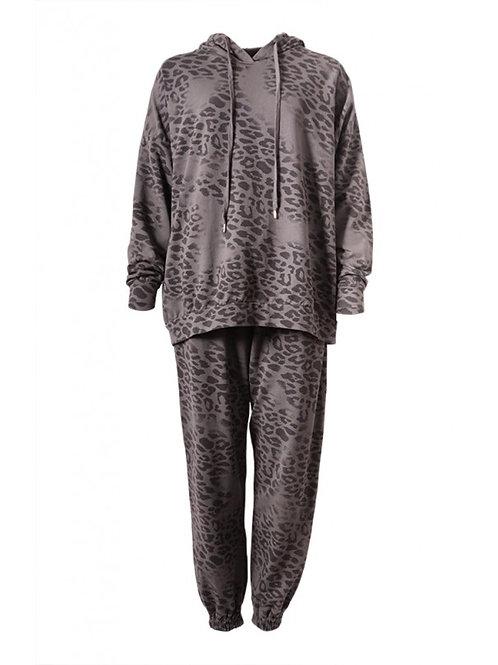 Charcoal Leopard Print Lounge Suit