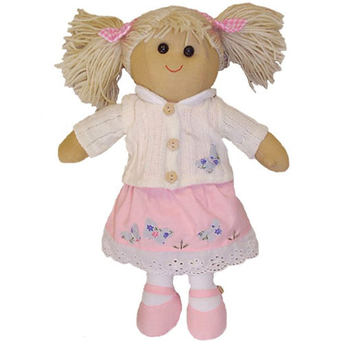 Rag Doll with Pink Dress and White Cardigan