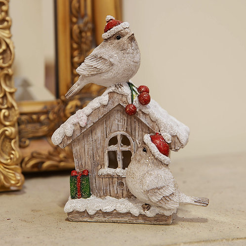 Two Robins on House Ornament
