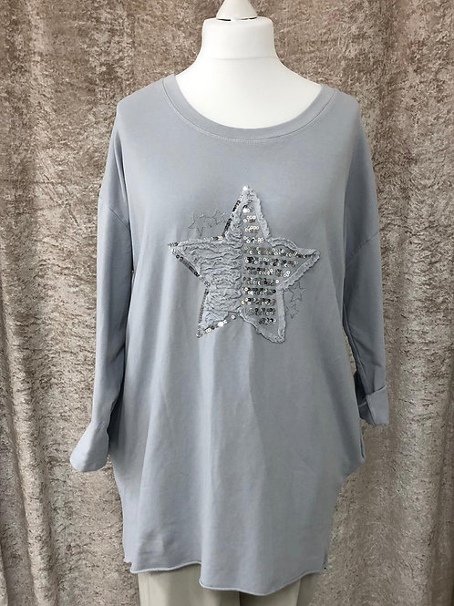 Light Grey Sparkle Star Top