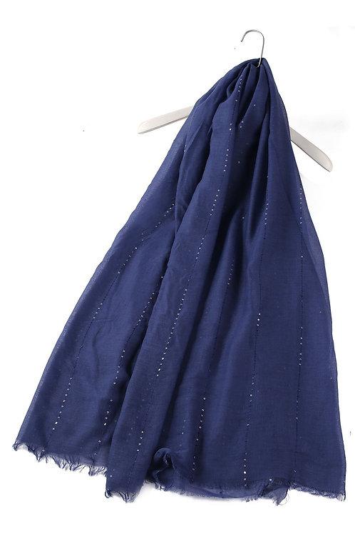 Navy Blue Sequin Scarf