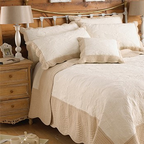 Fayence Taupe & White Bedspread