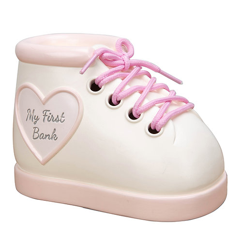 Pink Baby Boot Money Box