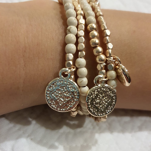 Rose Gold & Ivory Multi Bracelet