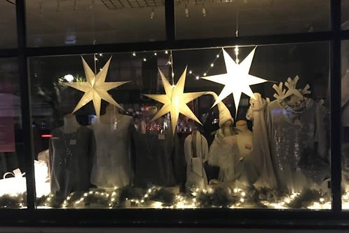 Silver Glitter Light Up Paper Star