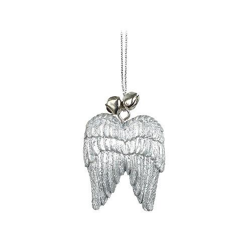 Silver Glitter Wings Decoration